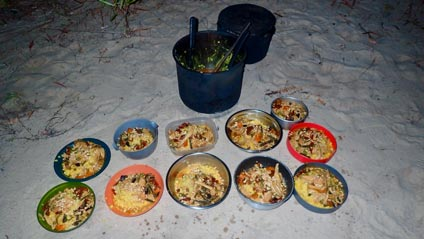 bushwalking carr boyd north tasty camp cooked food